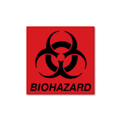 Biohazard Decal, 5-3/4 x 6, Fluorescent Red