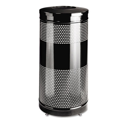 Classics Perforated Open Top Receptacle, Round, Steel, 25gal, Bl