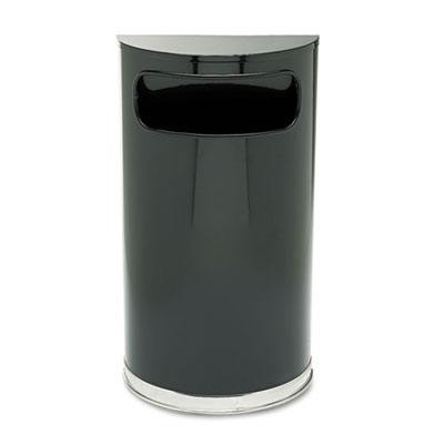 European & Metallic Series Receptacle, Half-Round, 9gal, Black/C