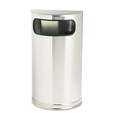 European & Metallic Series Receptacle, Half-Round, 9gal, Satin S