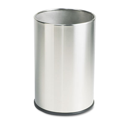 European & Metallic Series Wastebasket, Round, 5gal, Satin Stain