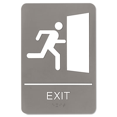 ADA Sign, 6 x 9, Exit, Gray