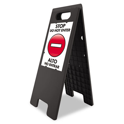 "Floor Tent Sign, Doublesided, Plastic, 10 1/2"" x 25 1/2"", Black"