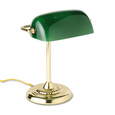 Traditional Incandescent Banker's Lamp, Green Glass Shade, Brass Base, 14  Inches - Traditional Incandescent Banker's Lamp, Green Glass Shade, Brass