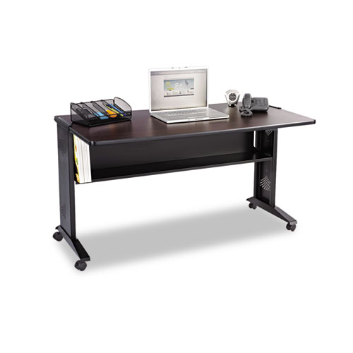 Safco Mobile Computer Desk W/ Reversible Top, 53 x 28 x 30, Mahogany/Medium