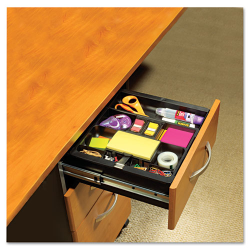 recycled plastic desk drawer organizer tray plastic black office and computer products
