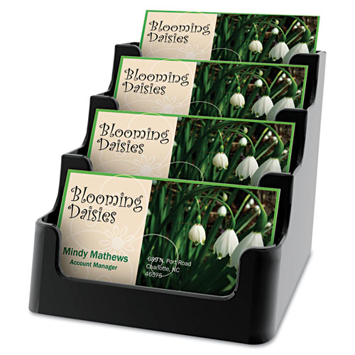 Deflect-O Recycled Business Card Holder, Holds 150 2 x 3 1/2 Cards, Four-Pocket,