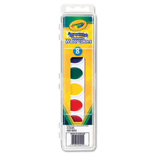 CYO530525 Crayola Washable Watercolor Paint, 8 Assorted Colors