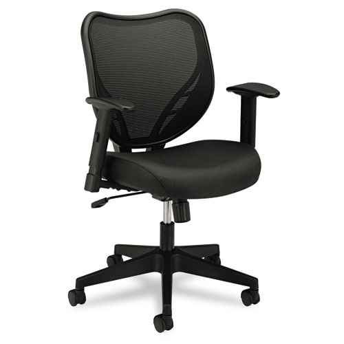 VL551 Series Mid Back Swivel Tilt Chair Fabric Seat Mesh Back Black WebO