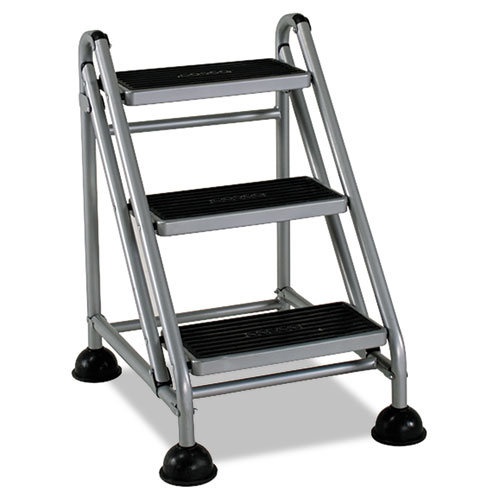 Cosco New Rolling Commercial Step Stool, 3-Step, 26 3/5 Spread, Platinum/Black
