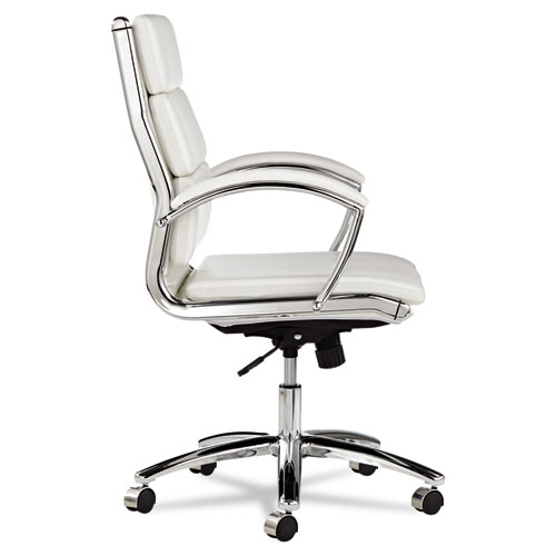 mid back swivel tilt chair white stain resistant faux leather chrome