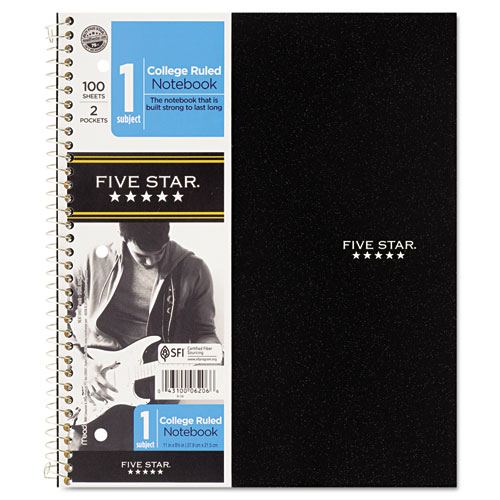 MEA06044 Five Star Hook 'N Go Wirebound Notebooks, College, 8 1/2 X 11, 1 Subject 100 Sheets