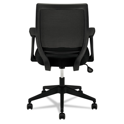 VL521 Series Mid Back Work Chair Mesh Back Fabric Seat Black Office Smarty