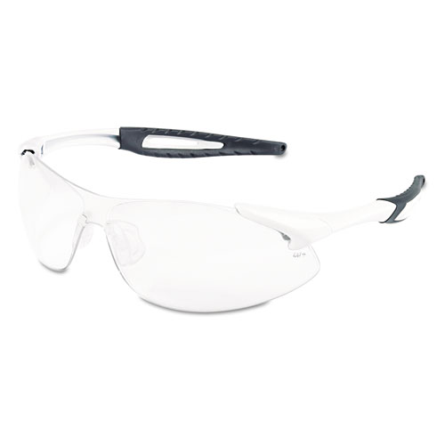 Crews Inertia Safety Glasses, White Frame, Clear Anti-Fog Lens, One Size