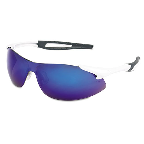 Crews Inertia Safety Glasses, White Frame, Blue Diamond Mirror Lens, One Siz