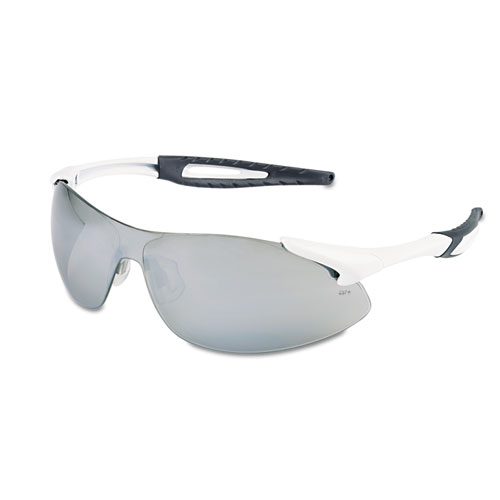 Crews Inertia Safety Glasses, White Frame, Silver Lens, One Size