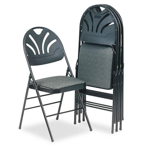 Fabric Padded Seat Molded Fan Back Folding Chair Kinnear Black 4 Carton G