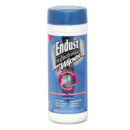 END259000 Endust Antistatic Premoistened Wipes For Electronics, Cloth, 5 1/2 X 7, 70/Tub photo