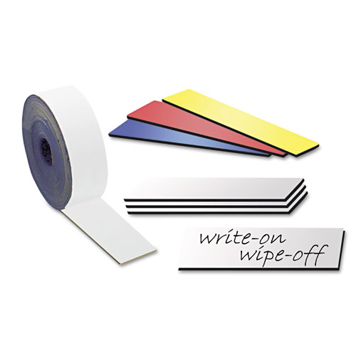 Dry erase magnetic tape strips