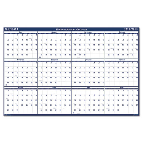 Style Reversible/Erasable Academic Yearly Calendar, 24 x 37, 2013-2014