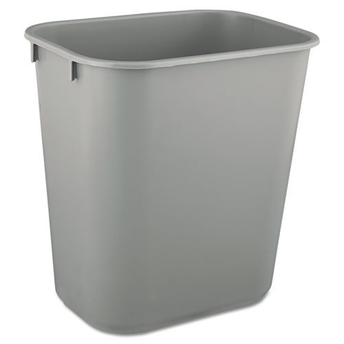 Deskside Plastic Wastebasket, Rectangular, 3 1/2 Gal, Gray