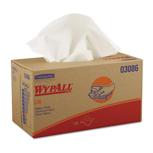 WYPALL* KCC03086 Wypall L30 Wipers, 10 X 9 4/5, White, 120/Pop-Up Box, 10 Boxes/Carton