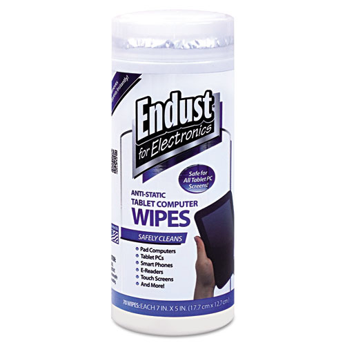 END12596 Endust For Electronics Tablet And Laptop Cleaning Wipes, Unscented, 70/Tub photo