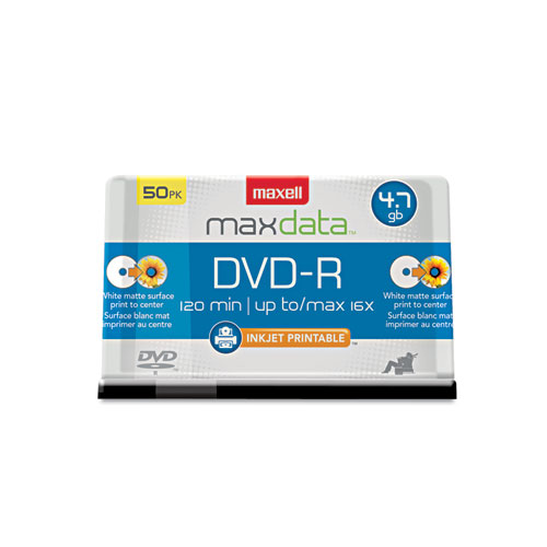MAX638022 Maxell Dvd-R Recordable Discs, 4.7Gb, 16X, Spindle, White, 50/Pack