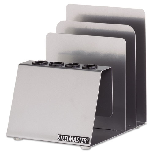 MMF Industries Soho Pen and Note Holder, 4 1/2 x 5 1/4 x 5 3/8, Steel, Silver