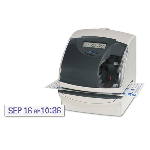 LTH5000EP Lathem Time 5000E Plus Electronic Time Recorder/Document Stamp/Numbering Machine, Cool Gray photo