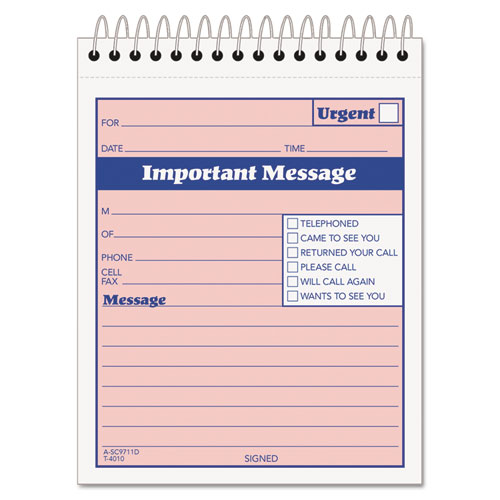 telephone message form Message Form, 4-1/4 x 6, Carbonless Duplicate, 50 Sets/Book GS-02F ...