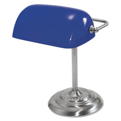 traditional incandescent banker 39 s lamp blue glass shade. Black Bedroom Furniture Sets. Home Design Ideas