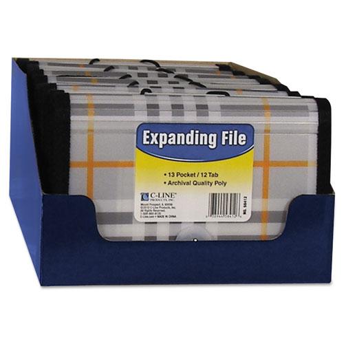 """CLI58412 C-Line Expanding File, Plaid, Coupon, 13 Pockets, 1.5"""" Exp, 1/Ea"""