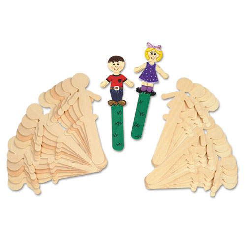 "CKC364502 Chenille Kraft People-Shaped Wood Craft Sticks, 5 3/8"", Wood, Natural, 36/Pack"