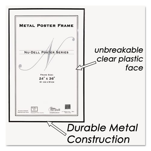 Metal Poster Frame, Plastic Face, 24 x 36, Black - Zerbee