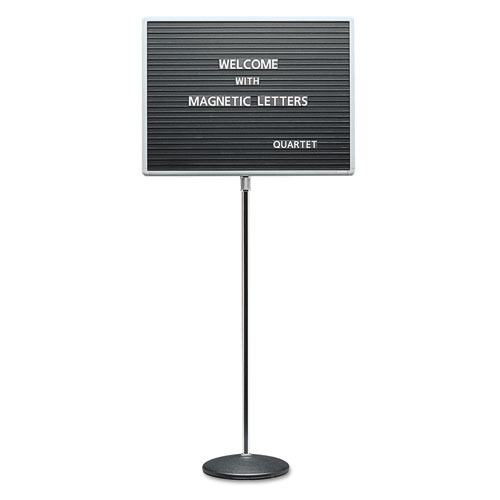 Adjustable Single-Pedestal Magnetic Letter Board, 24 x 18, Black ...