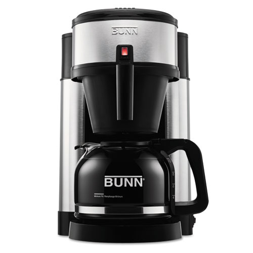 BUNNHS Bunn 10-Cup Home Coffee Brewer, Stainless Steel, Black photo
