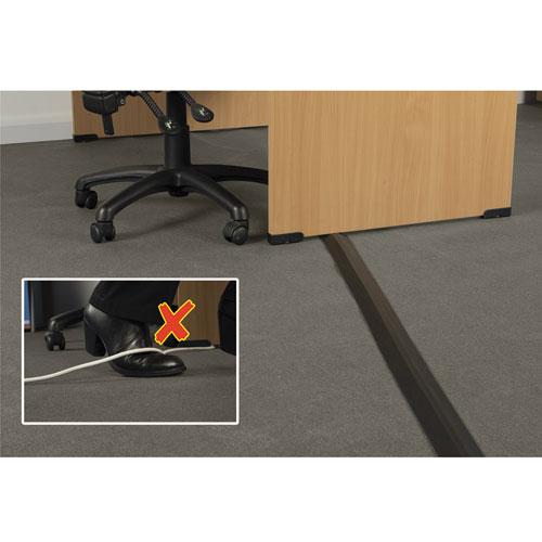 medium duty floor cable cover 2 3 4 x 1 2 x 6 ft black yoursuppliesnow. Black Bedroom Furniture Sets. Home Design Ideas