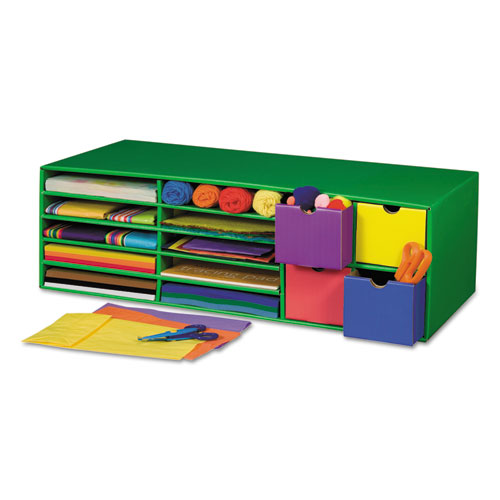 PAC001330 Pacon Classroom Keepers Crafts Keeper Organizer, Green, 14 Sections, 9 3/8X30x12 1/2