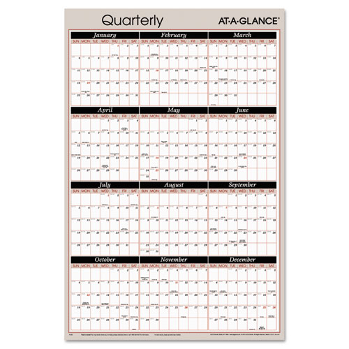 Vertical/Horizontal Erasable Quarterly Wall Planner, 24 x 36, 2017 ...
