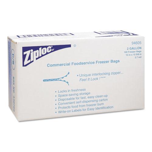 DVO94605 Ziploc Commercial Resealable Freezer Bag, Zipper, 2Gal, 13 X 15 1/2, Clear, 100/Carton photo
