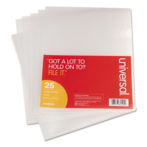 Project Folders, Jacket, Poly, Letter, Clear, 25/Pack - Universal ...
