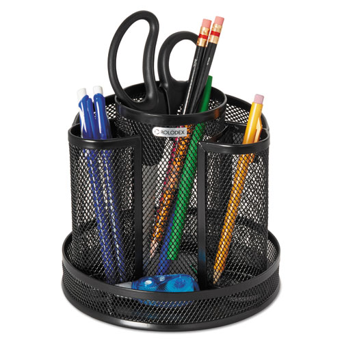 Wire mesh spinning desk sorter black - Spinning desk organizer ...