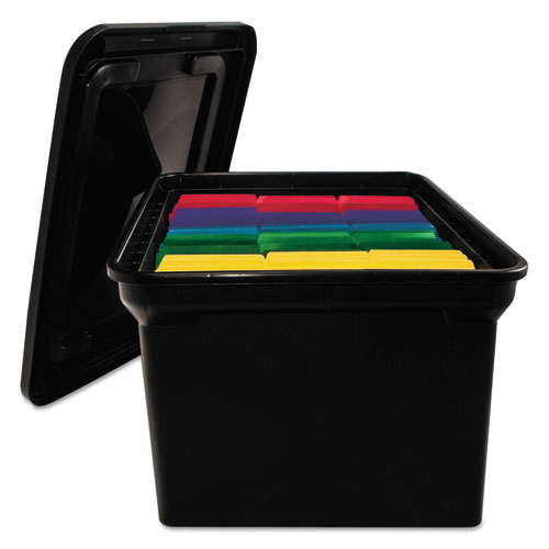 File tote storage box w lid legal letter plastic black for Letter legal storage boxes with lids