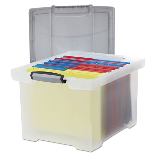 Portable File Tote W/Locking Handle Storage Box, Letter/Legal, Clear  STX61530U01C