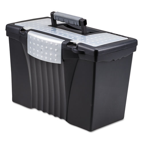 Storex 61510u01c portable file storage box w organizer lid for Letter legal storage boxes with lids