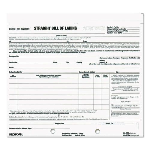 bill of lading short form  7 x 8 1  2  three
