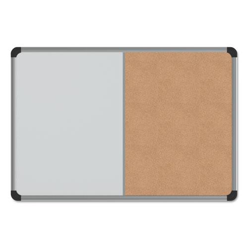 Cork/Dry Erase Board, Melamine, 24 x 18, Black/Gray Aluminum/Plastic ...