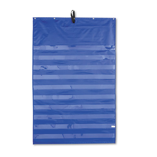 Essential pocket chart 10 clear amp 1 storage pocket grommets blue 31 x 42 office supply king