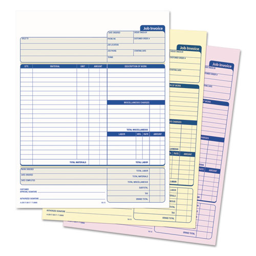 SnapOff Job Invoice Form X ThreePart Carbonless - Job invoice form